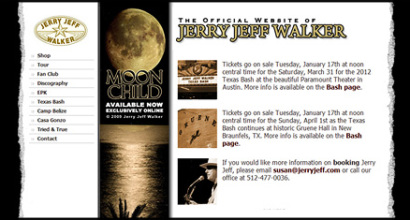 Jerry Jeff Walker Website Designed by N.A.I. Multimedia New Orleans TX