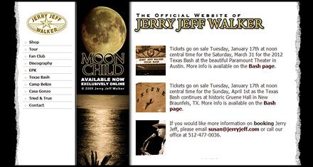 Jerry Jeff Walker Website Designed by N.A.I. Multimedia New Orleans TX