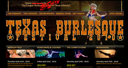 Texas Burlesque Festival Website Design by N.A.I. Multimedia Studios, New Orleans TX