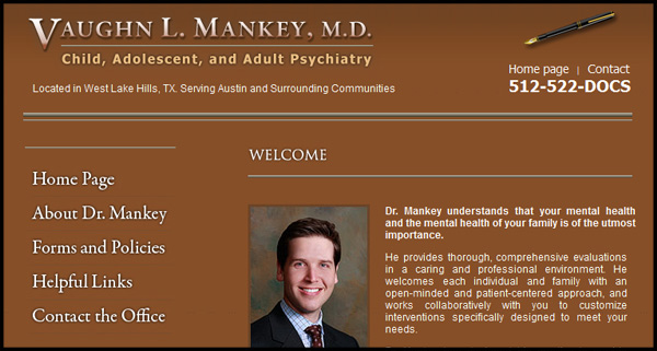 Dr. Vaughn Mankey, Psychiatrist - Website design by N.A.I. Multimedia Studios New Orleans Texas
