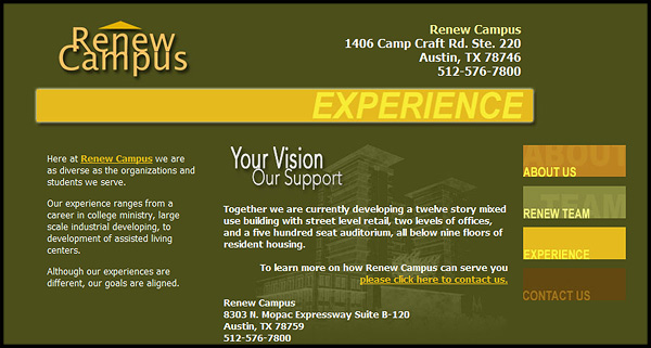Renew Campus Website Design by N.A.I. Multimedia Studios New Orleans Texas