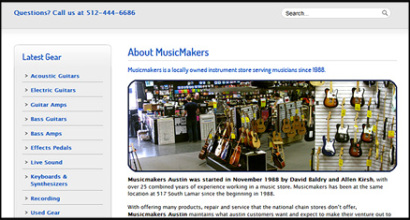 MusicMakers Music Store Custom Website Designed by N.A.I. Multimedia Studiios, New Orleans TX