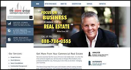 The Stone Group Corporate Real Estate Services, Custom Website Design by N.A.I. Multimedia Studios, New Orleans TX