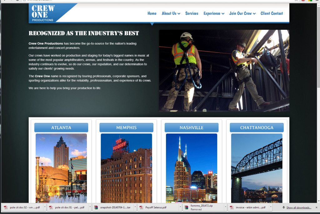 Crew One website designed by N.A.I. Multimedia Studios, New Orleans TX USA