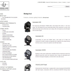 German Light Products site designed by N.A.I. Multimedia Studios