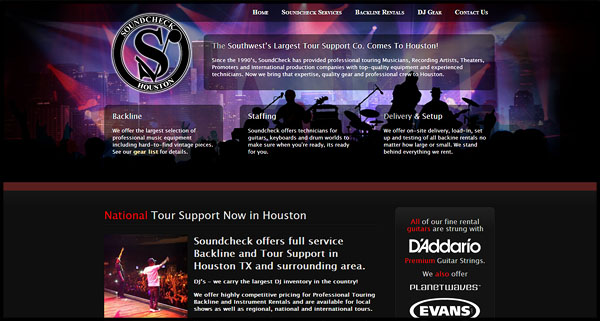 Soundcheck Houston SIte Design by N.A.I. Multimedia Studios New Orleans TX USA