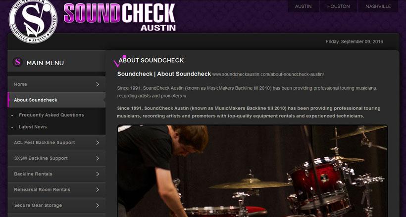 Soundcheck Austin website design by N.A.I. Multimedia Studios